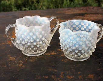 Moonstone Hobnail Sugar and Creamer Set with Crimped Edge