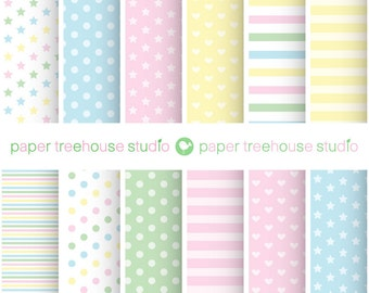 Digital Papers - Pastel Hearts, Stars, Polka Dot and Stripes - Twelve 8.5 x 11 inch Print Ready Files - PNG Format - ID1026