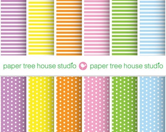 Sale - Digital Papers - Stripes and Polka Dots in 6 Bright Colors- Twelve 8.5 x 11 inch Print Ready Files - ID 1036