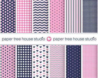 Digital Papers - Pink & Navy Gingham, Polka Dot, Stripes, Hearts, Zig Zag - Twelve 8.5 x 11 inch Print Ready Files - PNG Format - ID 1048