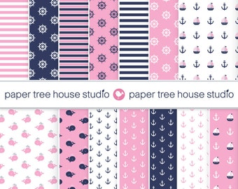 Digital Papers - Pink and Navy Sailboats, Whales and Stripes- Fourteen 8.5x11 and 12x12 inch Print Ready Files - ID1047