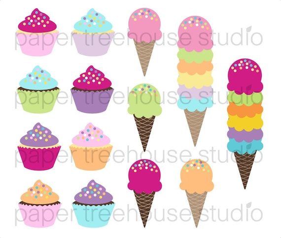 Clip Art Set - Cupcake and Ice Cream - 14 Print Ready Files - JPG and PNG Format - ID 140