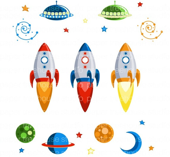 Planets clipart for kids green planet clip art image - Clip Art Set Rocket Ships Outer Space Moon Stars Planets
