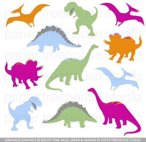 Clip Art Set - Dinosaurs - TRex, Brontosaurus - Bold Pink, Blue, Orange and Green - 11 Print Ready Files - JPG and PNG Format - ID 156