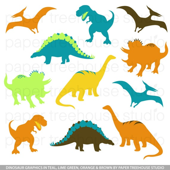 Clip Art Set - Dinosaurs - TRex, Brontosaurus - Teal, Lime, Yellow, Orange and Brown - 11 Print Ready Files - JPG and PNG Format - ID 133