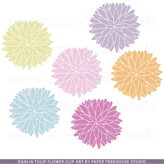 Clip Art Set - Flowers - Dahlia Tulips - Pink, Purple, Blue, Yellow, Orange - 6 Print Ready Files - JPG and PNG Format - ID 117