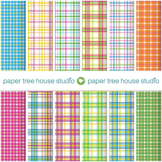 Digital Papers - Bright Plaid Prints - Pink, Orange, Blue, Green - Twelve 8.5 x 11 inch Print Ready Files - PNG Format - ID 1041