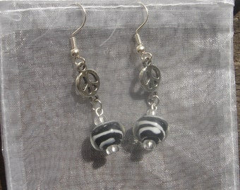 Zebra Peace Earrings