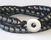Leather Wrap Bracelet in Chan Luu Style with Hematite - for Him or Her