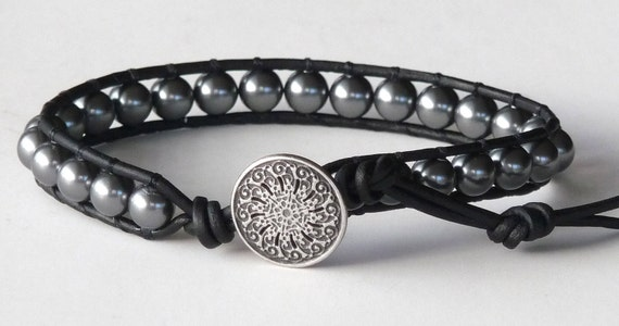 Beaded Leather Wrap, Chan Luu Style, Grey Swarovski Pearls