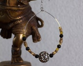 Large Basketball Wives type Hoop Earrings - Silver with Leopard, Black, and Gold Beads