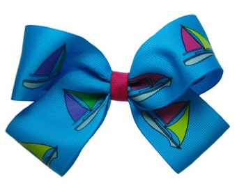 Large Turquoise Sailboat Sailing Hair Bow