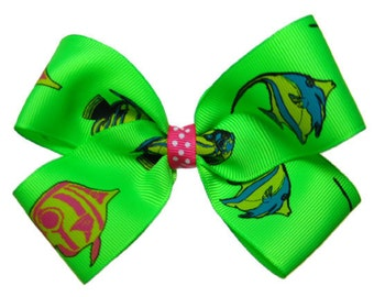 Tropical Reef Fish Hair Bow in Lime Green