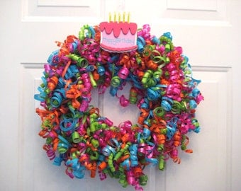 Happy Birthday Curly Ribbon Wreath