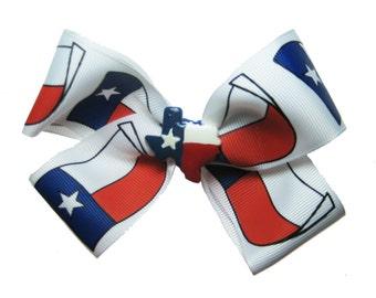 Large Texas Lone Star TX State Flag Hair Bow