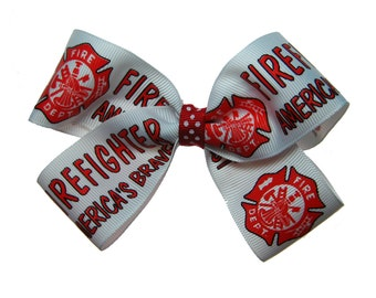 Large Firefighter Hair Bow