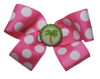 Large Lime and Hot Pink Polka Dot Preppy Palm Tree Hair Bow