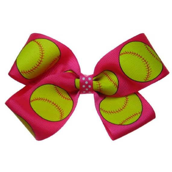 Large Softball Bows Pitch Softball Hair Bow