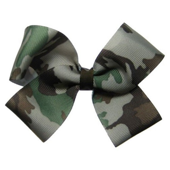 Large Camouflage Camo Hair Bow