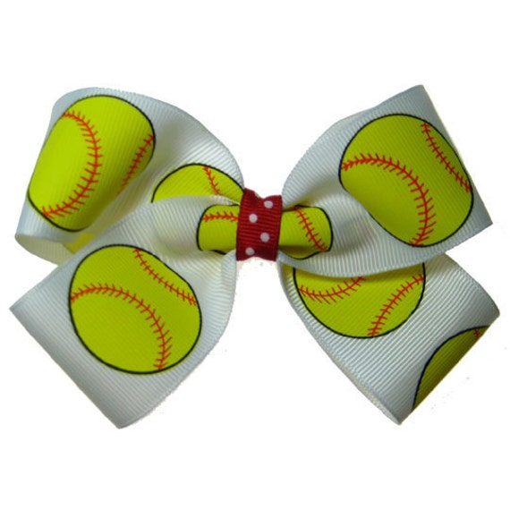 Large White Red Fast Pitch Softball Hair Bow