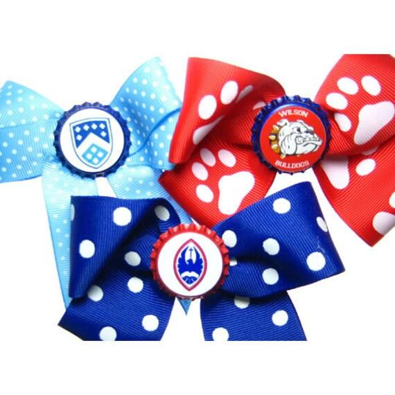 Custom School Logo or Sports Team Mascot Bottlecap Hair Bow