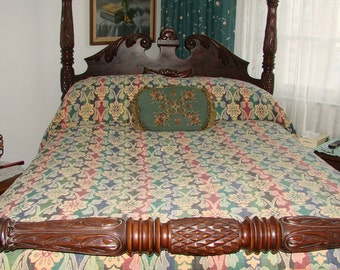 Vintage Marseilles Multi-Colored Flower Patterned Bedspread