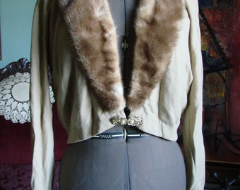 Vintage Bernhard Altmann Sweater with Brown Mink Collar