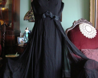 Vintage 60s Black Silk & Chiffon Column SFA Dress