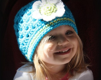 Crochet flower cloche