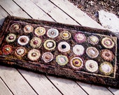 Large Hand Hooked Wool Primitive Penny Rug