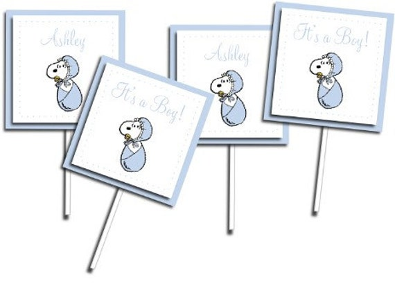 blue snoopy baby shower cupcake picks by creatingapapermemory, Baby shower