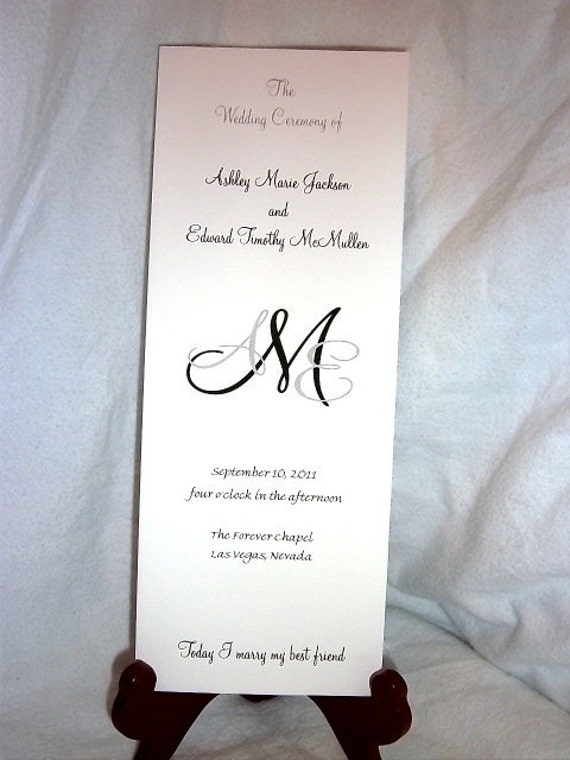 100 Monogram Wedding Programs.... includes personalization, printing and Free shipping