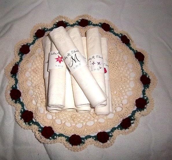 50 monogram wedding napkin ring cuffs wraps  personalized