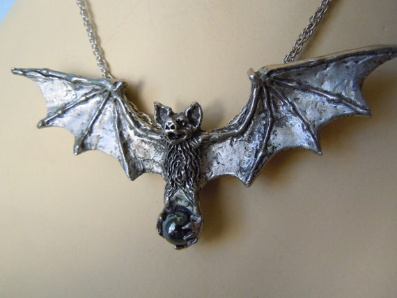 Spread Wing Bat Necklace with Hematite Ball