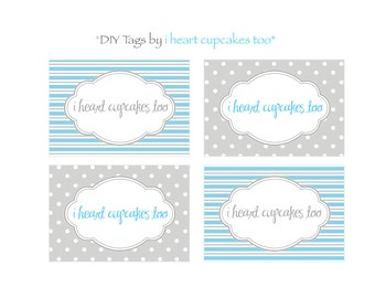 Blue and Gray Fancy Food Labels, Place Cards, Favor Tags - INSTANT DOWNLOAD