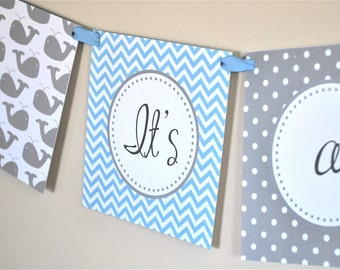 Blue and Gray Chevron Whale Banner - Instant Download