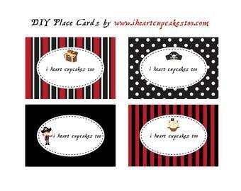 Printable Pirate Labels, Food Labels, Dessert Labels, Favor Tags, Cards, Signs - INSTANT DOWNLOAD