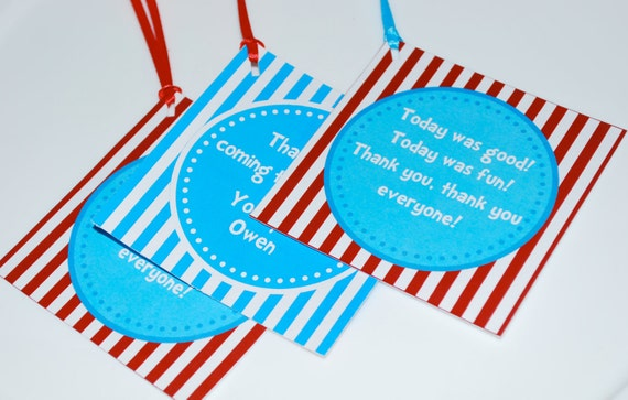 Dr. Seuss Birthday Tags - Instant Download