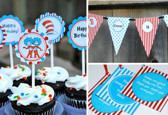 Dr. Seuss Printable Party - Cupcake Toppers, Banner, Tags