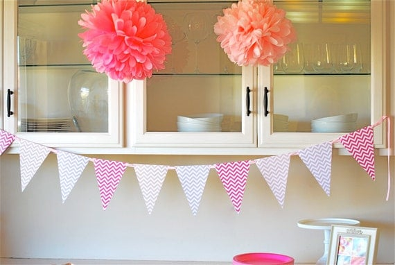 Pink Chevron Pennant Banner - Printable / Instant Download