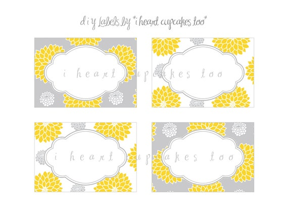 Yellow and Gray Labels - Food Labels, Dessert Labels, Card, Sign, Place Cards - INSTANT DOWNLOAD