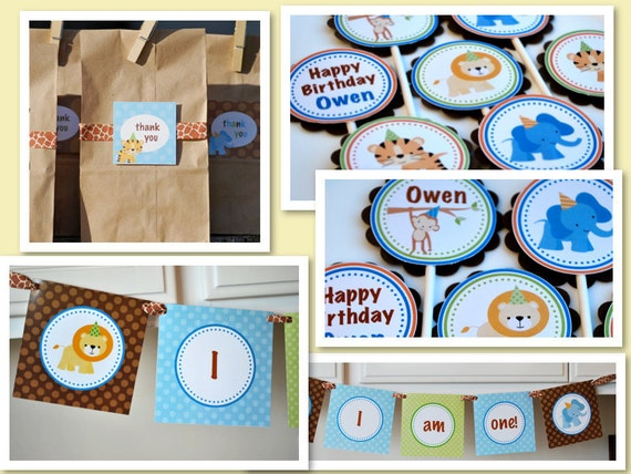 Jungle Safari Birthday Party Kit, Cupcake Toppers, Banner, Favor Tags and Straws