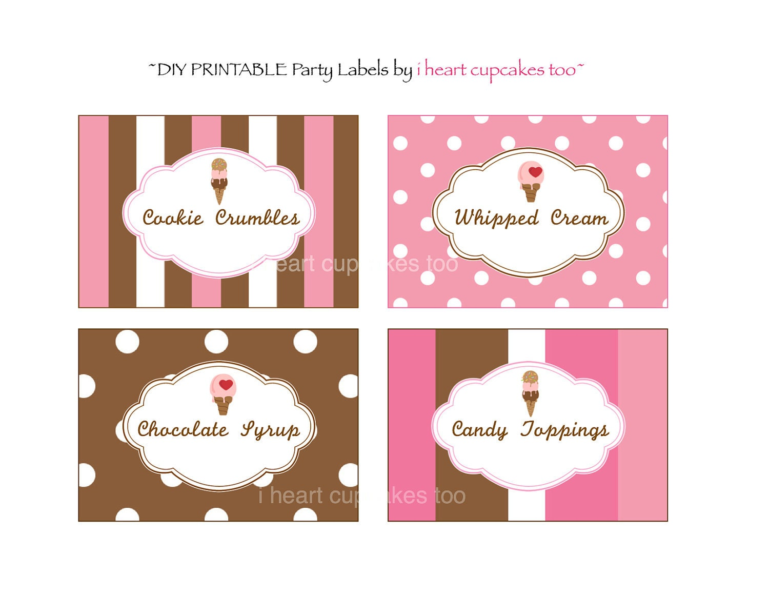Labels: PRINTABLE Ice Cream Party Labels Instant Download