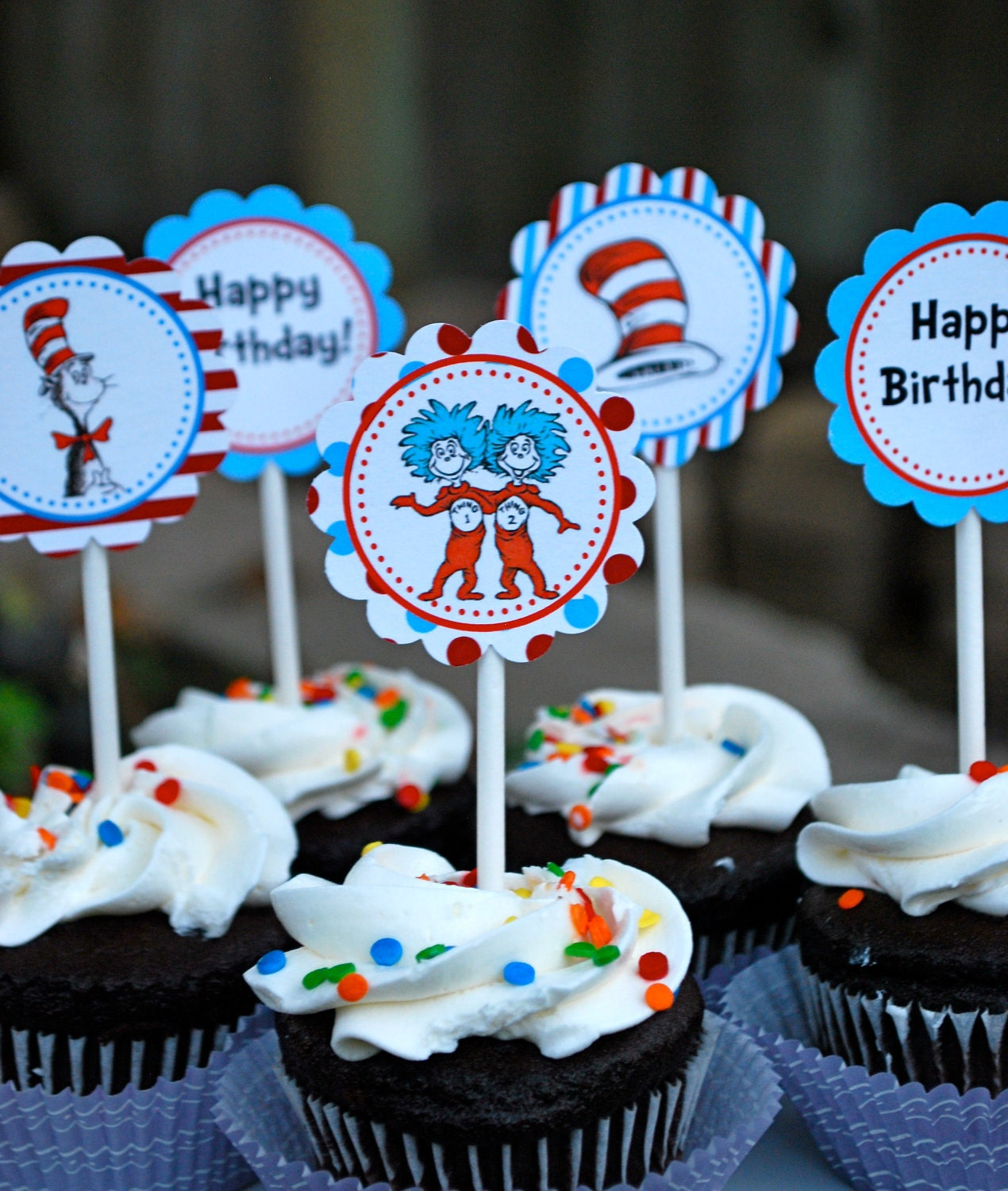 Cat In The Hat Cupcake Toppers Instant Download