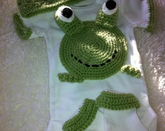 Froggy onesie, hat, and sock set