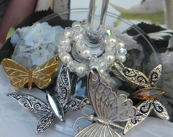 Vintage Butterfly Brooch Wine Charms