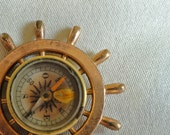 Nautical Brass Compass, Ship Wheel Miniature