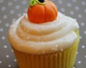 Fondant Pumpkin Cupcake Topper - 3D - 1 dozen