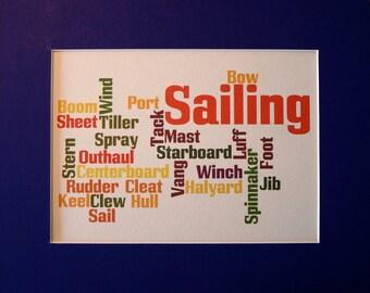 Sailing Word Cloud Giclee Print