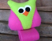 Seatbelt Pillow by SleepyTimez - Lime and Pink Owl